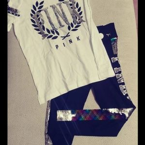 VS Pink Bling Campus Tee S/M bling legging outfit